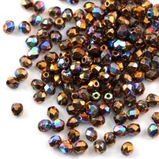 Fire Polish 4mm Crystal Glittery Bronze [20szt]