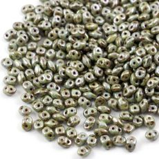 SuperDuo 2.5x5mm Luster Green Opaque White [10g]