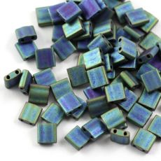 Miyuki Tila Beads 5x5x1,9mm Metallic Blue Green Matted [30szt]