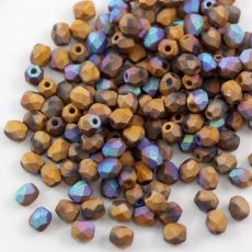 Fire Polish 4mm Crystal Glittery Bronze Matted [20szt]