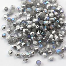 Fire Polish 4mm Crystal Etched Silver Rainbow [20szt]