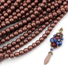 Round Beads Velvet Dark Bronze 6mm [sznur/80szt]