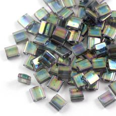 Miyuki Tila Beads 5x5x1,9mm Dark Grey Rainbow Lustered [30szt]