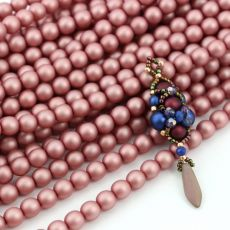 Round Beads Velvet Powder Pink 6mm [sznur/80szt]