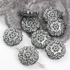 Vintage beads moneta Silver Grey 22mm