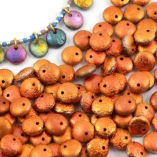 Lentil Beads Jet Sunset Full Etched 8mm [20szt]