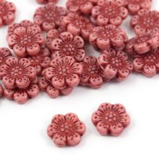 Anemone Flower Beads Opaque Pink Red Patina 14mm [1szt]