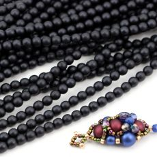 Round Beads Velvet Black 4mm [sznur/120szt]