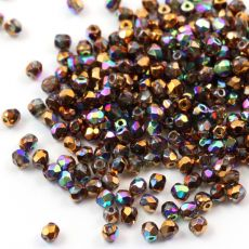 Fire Polish 3mm Crystal Glittery Bronze [40szt]