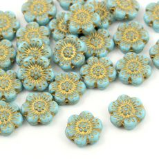 Anemone Flower Beads Opaque Turquoise Blue Gold Patina 14mm [1szt]