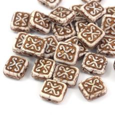Patina Brick Beads Chalk White Bronze 12x11mm [1szt]