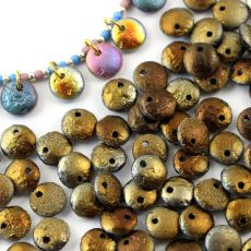 Lentil Beads Jet Etched Valentinite Full 8mm [20szt]