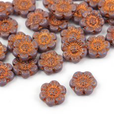 Anemone Flower Beads Opaque Amethyst Bronze Patina 14mm [1szt]
