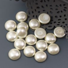Glass Pearl Cabochon Light Cream 12mm