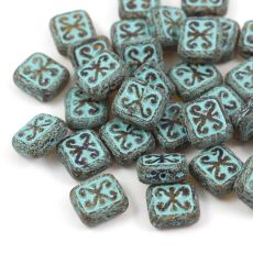 Patina Brick Beads Light Topaz Turquoise 12x11mm [1szt]