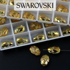 5728 Swarovski Scarab Bead 12mm Crystal Metallic Sunshine