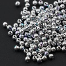 Round Beads Crystal Glittery Silver 3mm [50szt]