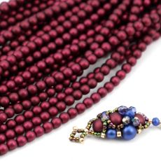Round Beads Velvet Burgundy Wine 4mm [sznur/120szt]