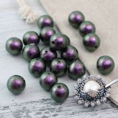 Miyuki Cotton Pearls Rich Green Black kula 10mm