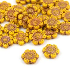 Anemone Flower Beads Opaque Light Orange Bronze Patina 14mm [1szt]
