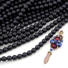 Round Beads Velvet Black 6mm [sznur/80szt]