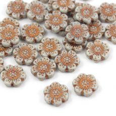 Anemone Flower Beads Opaque Gray Bronze Patina 14mm [1szt]