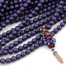 Round Beads Velvet Sugar Plum 6mm [sznur/80szt]