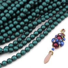 Round Beads Velvet Emerald 6mm [sznur/80szt]