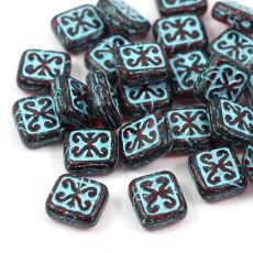 Patina Brick Beads Transparent Red Turquoise 12x11mm [1szt]