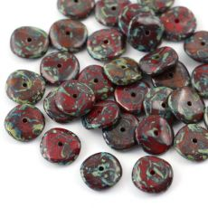 Ripple Beads 12mm Opaque Red Travertine [10szt]
