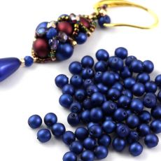 Round Beads Velvet Suede Blue 4mm [50szt]