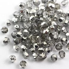 Fire Polish 6mm Silver 1/2 Coated Crystal [20szt]