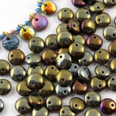 Lentil Beads Jet Brown Iris 8mm [20szt]
