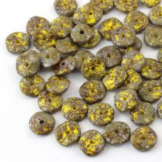 Ripple Beads 12mm Yellow Picasso Etched [10szt]