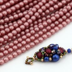 Round Beads Velvet Powder Pink 4mm [sznur/120szt]