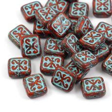 Patina Brick Beads Opaque Orange Turquoise 12x11mm [1szt]