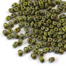 SuperDuo 2.5x5mm Opaque Olivine-Picasso [10g]