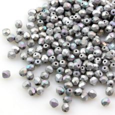 Fire Polish 3mm Crystal Glittery Silver Matted [40szt]
