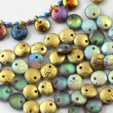 Lentil Beads Crystal Golden Etched Rainbow 8mm [20szt]