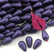 Drop Beads Velvet Sugar Plum 18x11mm [4szt]
