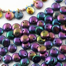 Lentil Beads Jet Purple Iris 8mm [20szt]