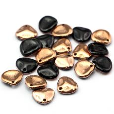 Rose Petals 8x7mm Jet Capri Gold [10szt]