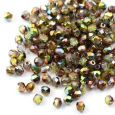 Fire Polish 4mm Crystal Magic Green [20szt]
