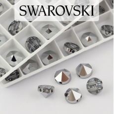5062 Swarovski Light Chrome Round Spike Bead 7,5mm - 2 hole [2szt]