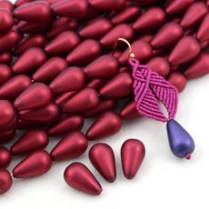 Drop Beads Velvet Sangria Red 18x11mm [4szt]