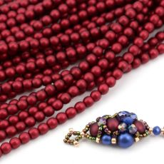 Round Beads Velvet Sangria Red 4mm [sznur/120szt]