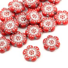 Anemone Flower Beads Opaque Red Coral Silver Patina 14mm [1szt]