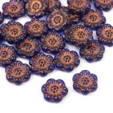 Anemone Flower Beads Blue Aquamarine Bronze Patina 14mm [1szt]