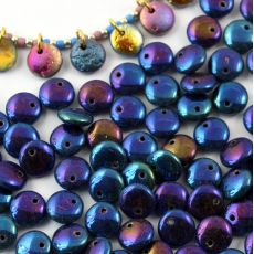 Lentil Beads Jet Blue Iris 8mm [20szt]
