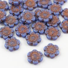 Anemone Flower Beads Opaque Sapphire Bronze Patina 14mm [1szt]